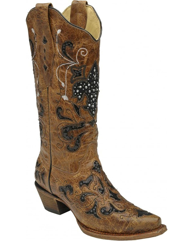 bd6004867fe CORRAL Women's A2856 Fleur De Lis Western Boot