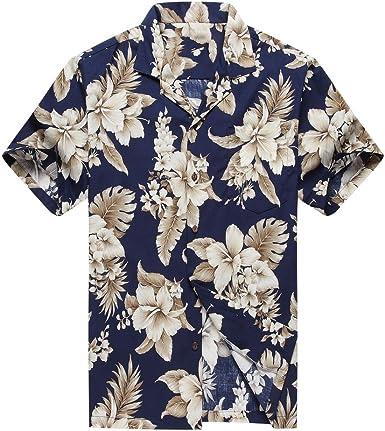 Hecho en Hawaii Camisa Hawaiana de los Hombres Camisa Hawaiana 3XL Gros Floral Cluster en Azul Marino: Amazon.es: Ropa y accesorios