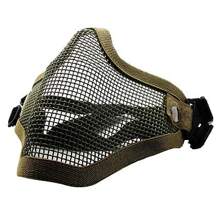 Máscara de Airsoft QMFIVE Malla de Acero Táctico Mascaras Mascara de Media Cara el Engranaje Protector