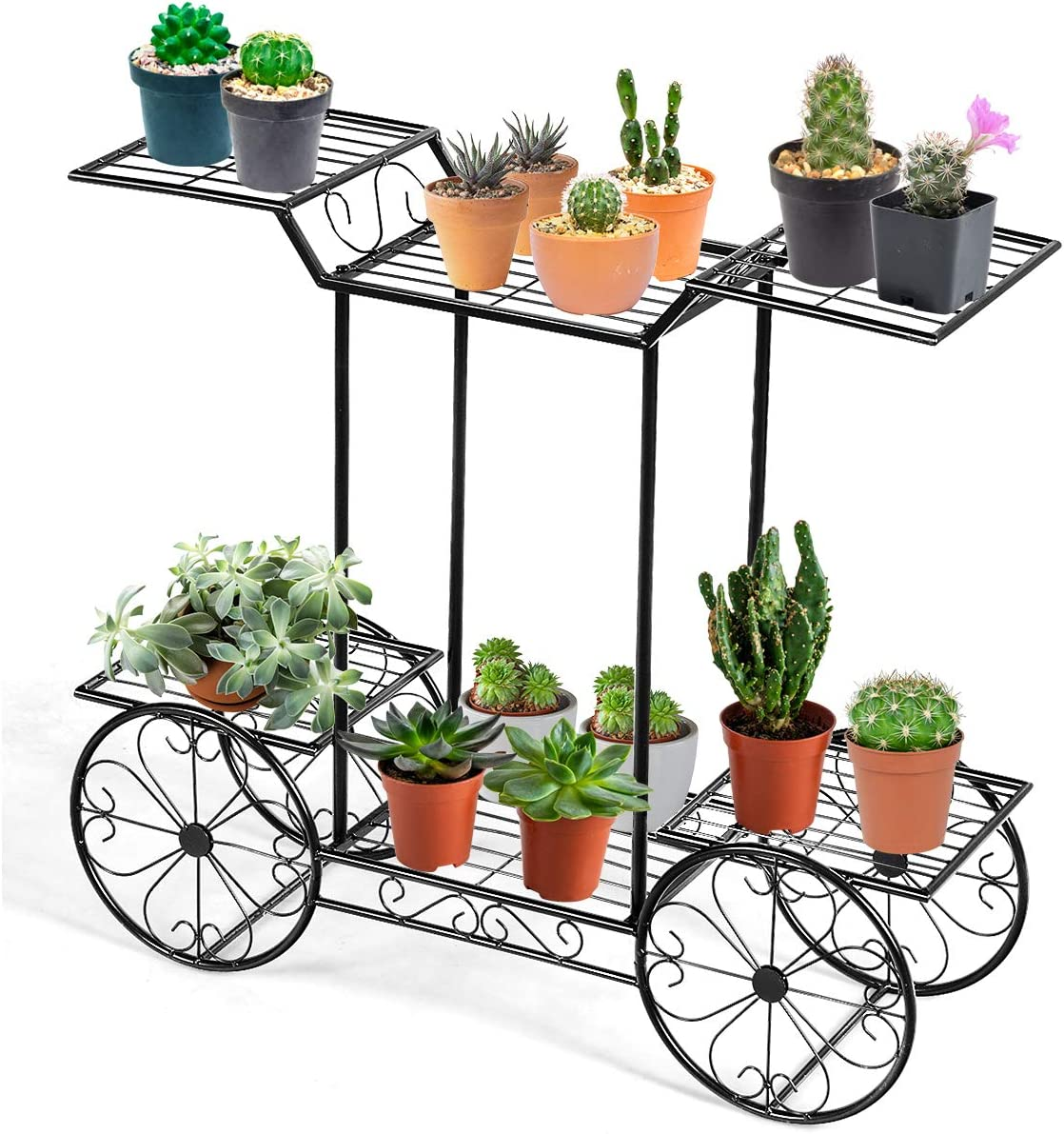 Giantex Garden Cart Metal Plant Stand with 4 Decorative Wheels, Succulent Collection Flower Pot Holder Display Shelf for Home Patio Garden Flower Shop, Parisian Style Plant Potted Rack (6-Tier)