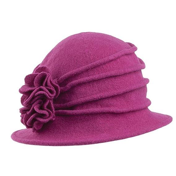 Village Hats Chapeau Cloche en Laine avec Fleur groseille SCALA - Taille  unique  Amazon.fr  Vêtements et accessoires 804646c47d1