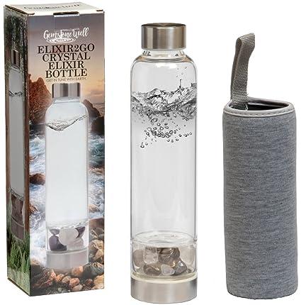 181aec2d1d8d Elixir2Go Crystal Elixir Bottle – 16oz Gemstone Water Bottle for Making  Crystal Infused Gemwater – Includes