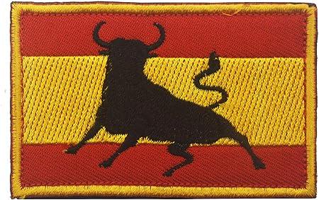 Parche bordado con diseño de bandera de España para coser en el ejército militar de Morale, 8 x 5 cm, con cierre de velcro Bull: Amazon.es: Hogar