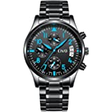 CIVO Mens Black Chronograph Watches Men Multifunctional Luxury Business Fashion Stainless Steel Wrist Watch Waterproof Date Calendar Casual Dress Analogue Watches for Gent