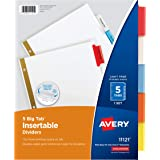 Avery 5-Tab Binder Dividers, Insertable Multicolor Big Tabs, 1 Set (11121)
