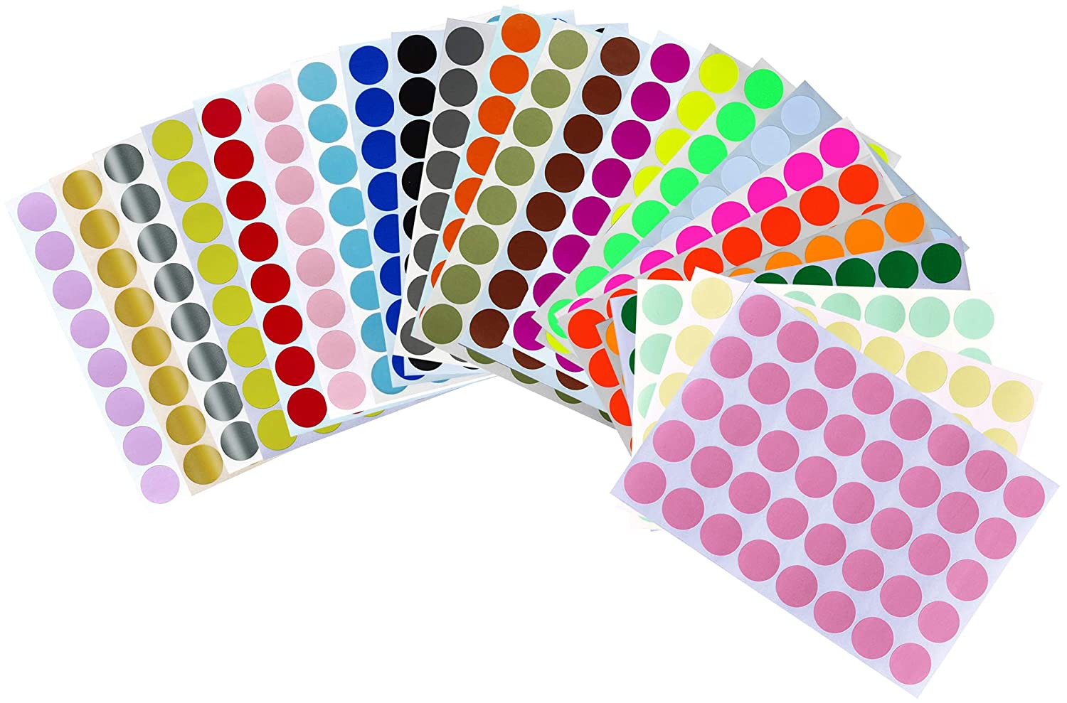 Amazon com colored dot stickers 3 4 inch all purpose labels in 24 assorted colors 19mm 1 9 cm 960 pack by royal green office products