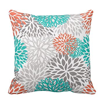 Amazon Emvency Throw Pillow Cover Orange Gray And Turquoise Delectable Cheap Turquoise Decorative Pillows