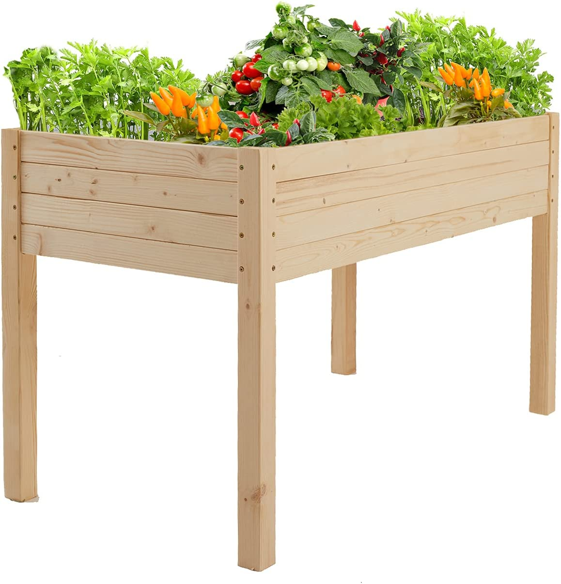 Befrasesl Wooden Raised/Elevated Garden Bed Planter Box Kit for Vegetable/Flower/Herb Outdoor Gardening Natural Wood 48 x 24.5 x 30 inches (US in Stock)