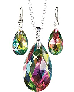 c5883f6ee The Paragon Rainbow Teardrop Jewelry Set - Faceted Aurora Borealis Necklace  and Earrings