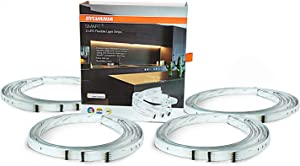SYLVANIA General Lighting 75585 SYLVANIA Smart+ Bluetooth Apple HomeKit-Enabled Indoor Full Color Flexible Lightstrip Starter Kit, Works with Siri Voice Control, No Hub Required for Set Up, 4 Pack