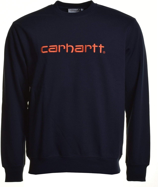 Carhartt Sweat Dark Navy Orange I027092.08P.91.03