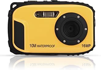 Underwater Camera, GordVE Waterproof Digital Camera HD 1080p 16MP 8X Zoom Camcorder Selfie DV Video Recorder (Yellow)