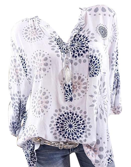 Huateng Camisa Estampada con Cuello en V y Estampado Extra Grande Blusas Sueltas con Estampado y