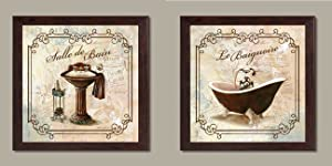 Gango Home Decor Classic Prints for Decorating Bathroom; Salle De Bain & Le Baignoire; Two 12x12in Brown Framed Pieces, Ready to hang!