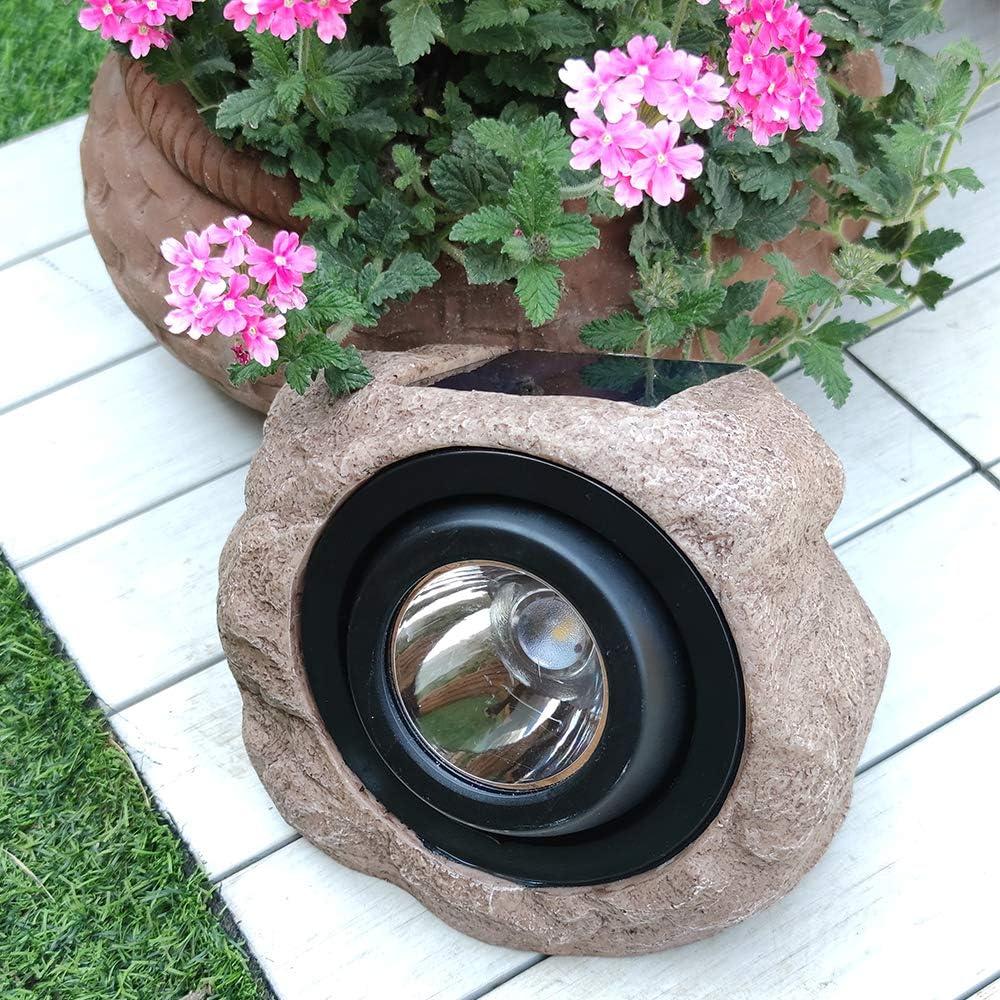 HECARIM Landscape Rock Light, Solar Powered Garden Lights Outdoor Decorative Waterproof LED Spotlight for Decor, Ground, Driveway, Pathway, Walkway, Yard, Patio. Outdoor Figurine Lights 2 Pack