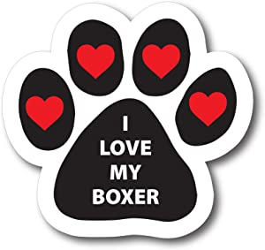 Magnet Me Up I Love My Boxer Pawprint Car Magnet Paw Print Auto Truck Decal Magnet