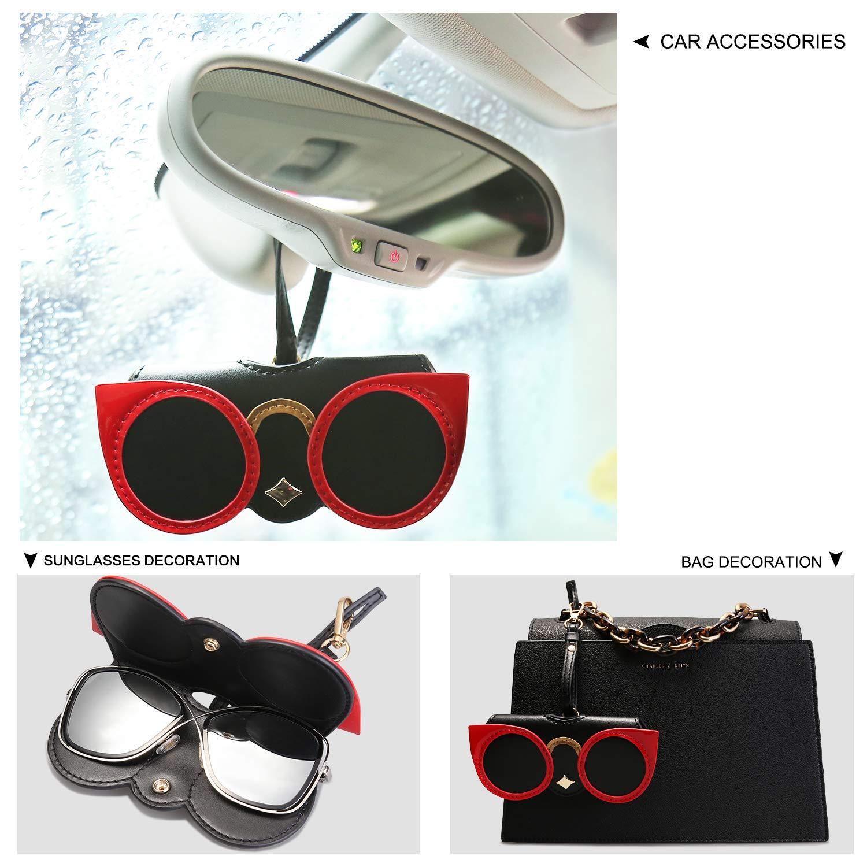 Handbag Ornament Handbag Ornament with Glasses SA501C1 SOJOS Women Soft Leather Eyeglass Case Cute Sunglasses Bag