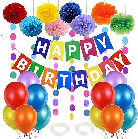 Decoration Anniversaire Enfant Ballons Anniversaire Colores Happy Birthday Ballon Banniere Joyeux Anniversaire 1er Anniversaire Deco Ballons Colores Et Pompons Papier Pour Fille Garcon Fete Amazon Fr Cuisine Maison