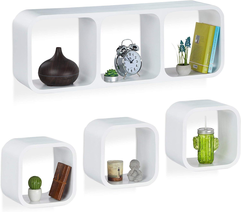 Relaxdays Cube Regal 4er Set Schwebend Quadratisch Modernes