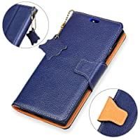 KM-WEN® Case for Honor View 10 (5.99 Inch) Book Style Genuine Leather Litchi Pattern Magnetic Closure PU Leather Wallet Case Flip Cover Case Bag with Stand Function and Credit ID Card Slot Holder Protective Case Cover for Honor View 10 (5.99 Inch) Dark-Blue