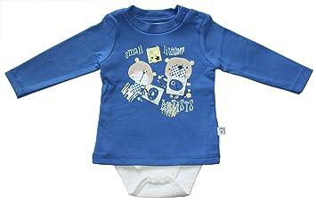= Body und Shirt in einem Little Man in blau Baby Corner Baby Jungen Body-Shirt Langarm