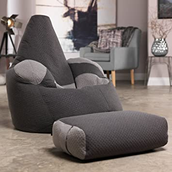 Icon Dot Pop Giant Bean Bag Armchair And Footstool Combo   Luxury Designer  Beanbag Recliner And