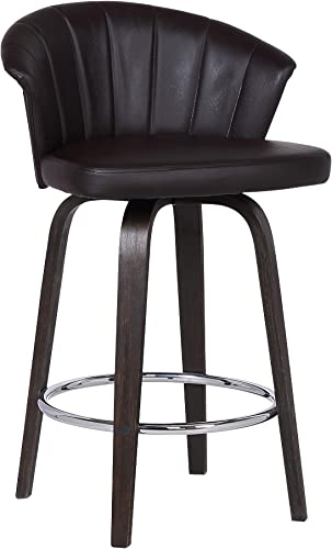 Armen Living Ashley Mid-Century Faux Leather Kitchen Barstool, 30 Bar Height, Brown