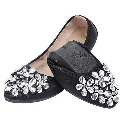 08562749de90 KUNSHOP Women Ballet Flats Rhinestone Wedding Ballerina Shoes Foldable  Sparkly Bridal Slip on Flat Shoes Black