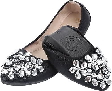 Bailarinas Plegables Mujer Qiamoo Bailarinas Boda Plano Elegante Suave Bailarinas Zapatos
