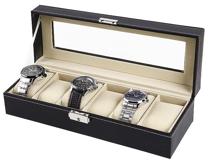 DP Design® Estuche Porta relojes 6 plazas Horizontal de sintética tapa de cristal 33 x 10,5 x 9 cm: Amazon.es: Relojes