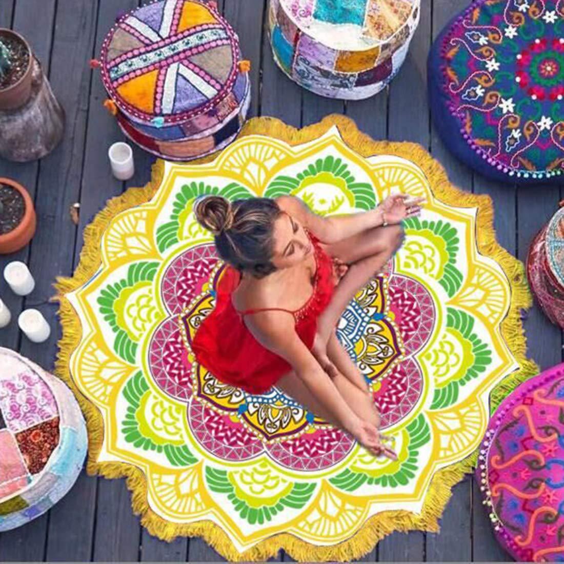 qianzhi Tassel Mandala Indien Tapisserie Serviette de Plage Sunblock Couverture de Bikini Ronde Couverture de Yoga Lotus