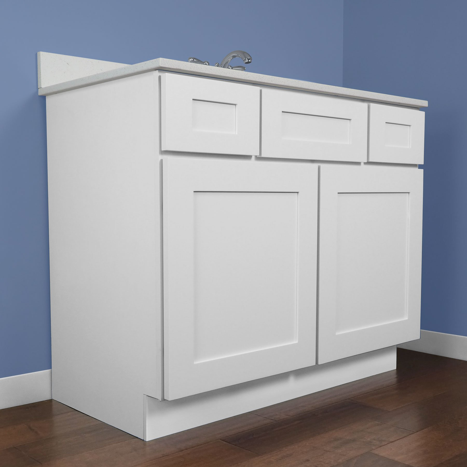 Everyday Cabinets Bathroom Vanity Single Sink Cabinet In Shaker White with Soft Close Drawers and Doors, 42'' L by Everyday Cabinets