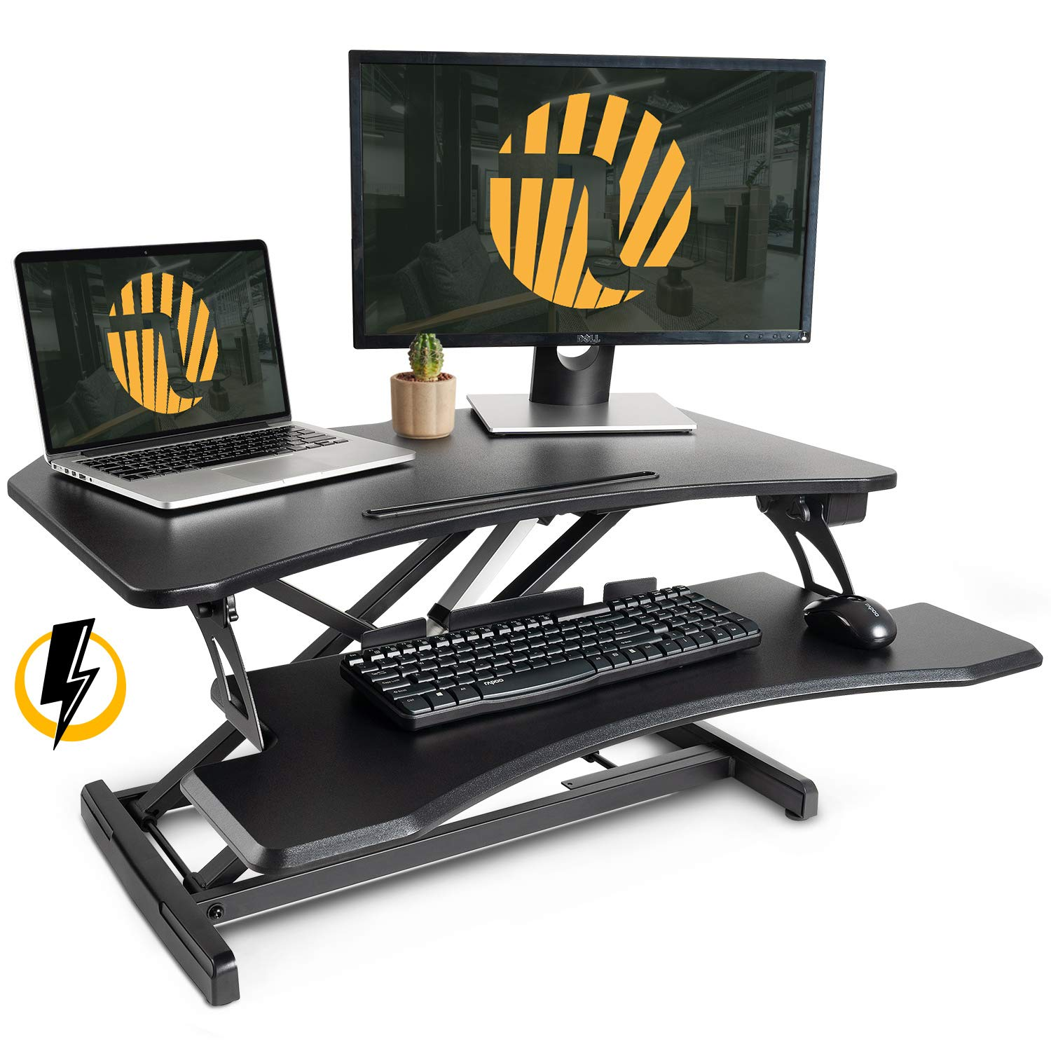 FEZIBO Electric Standing Desk Converter 34 inch Black Height Adjustable Stand Up Power Riser, Tabletop Workstation Fits Dual Monitor