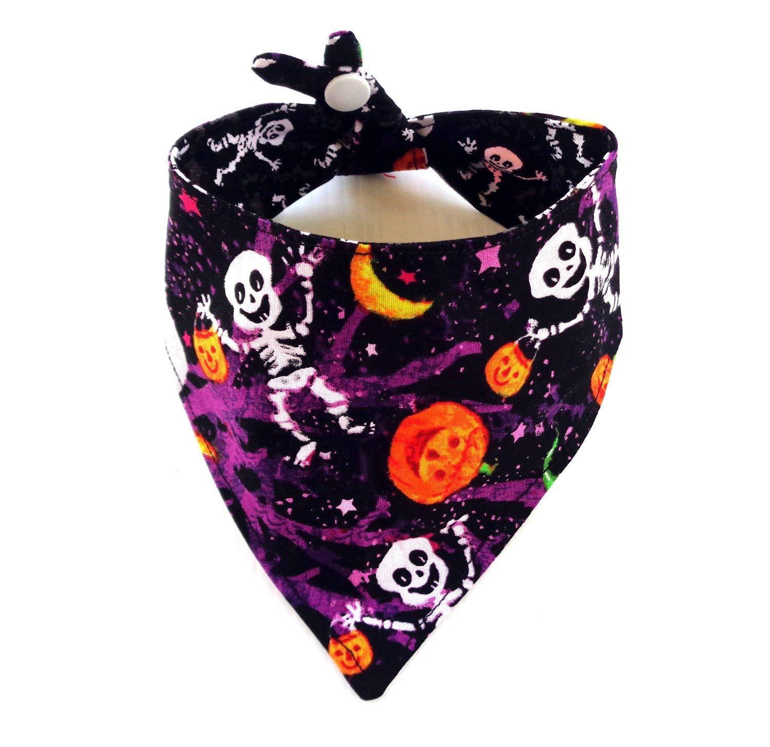 Reversible Adjustable Tie and Snap Closure Halloween dog bandanna, Pumpkins Ghost Skeleton Prints Petwear Neckwear - Small Size