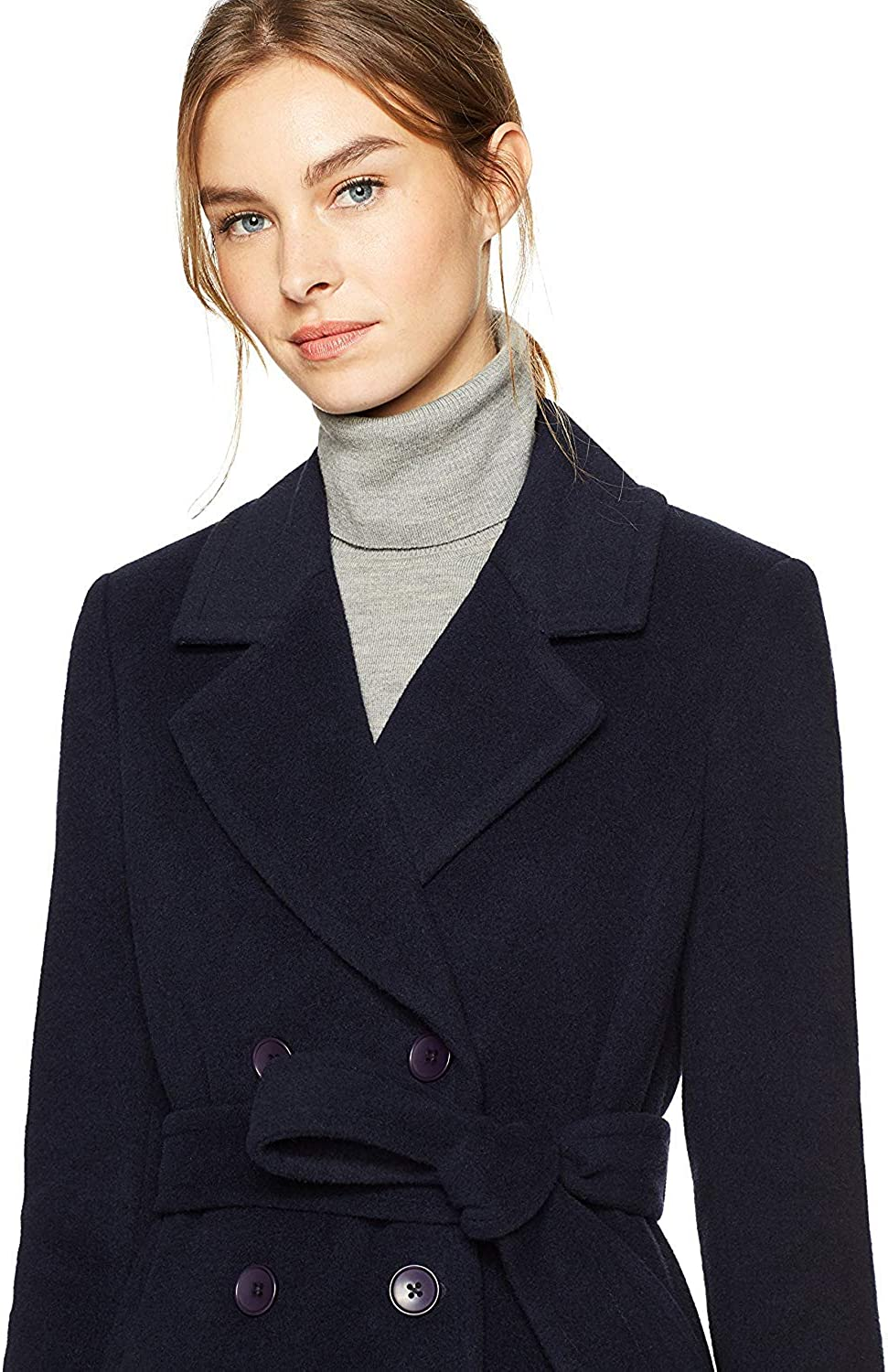 Haven Outerwear Womens Double Breasted Wool Coat with Tie Belt