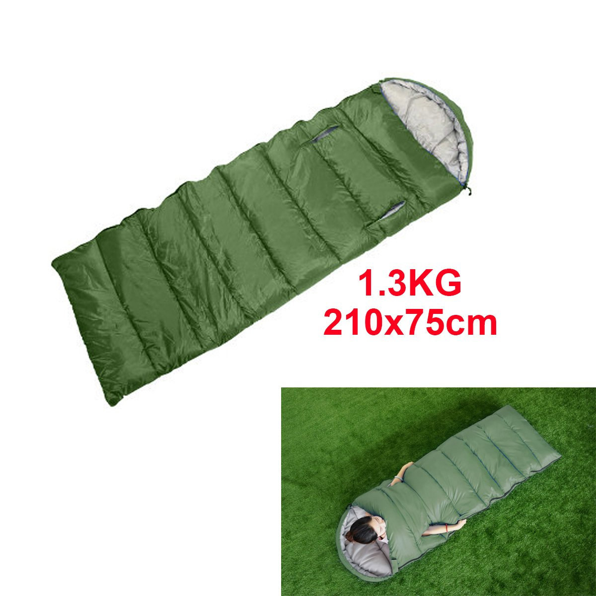 1.3KG(210*75CM) Camping Seeping Bags forest Envelope Sleeping Bag Single - 3 Season - Suitable for Adults and Kids Outdoor Camping - Lightweight, Compact and Water Resistant - High Quality for a Comfortable Warm Sleep(Green) CMYKZONE