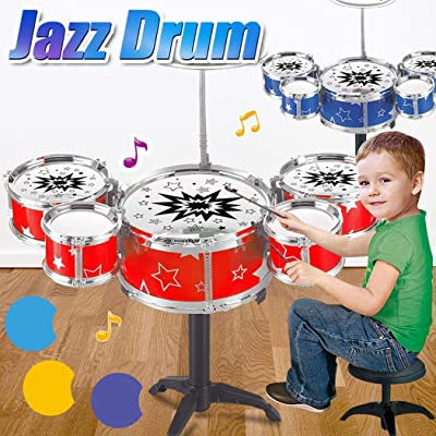 Kaimu Kids Toy Jazz Drum Kit Musical Instrument Toy Early Educational Toy Drums & Percussion: Toys & Games