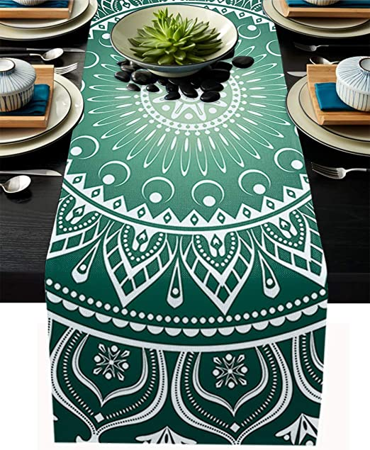 Amazon Com Urder Burlap Linen Table Runner 13 X 90 Inch Indian Mandala Design Green Farmhouse Table Cover For Home Dining Holiday Parties Summer Spring Wedding Table Decor Home Kitchen
