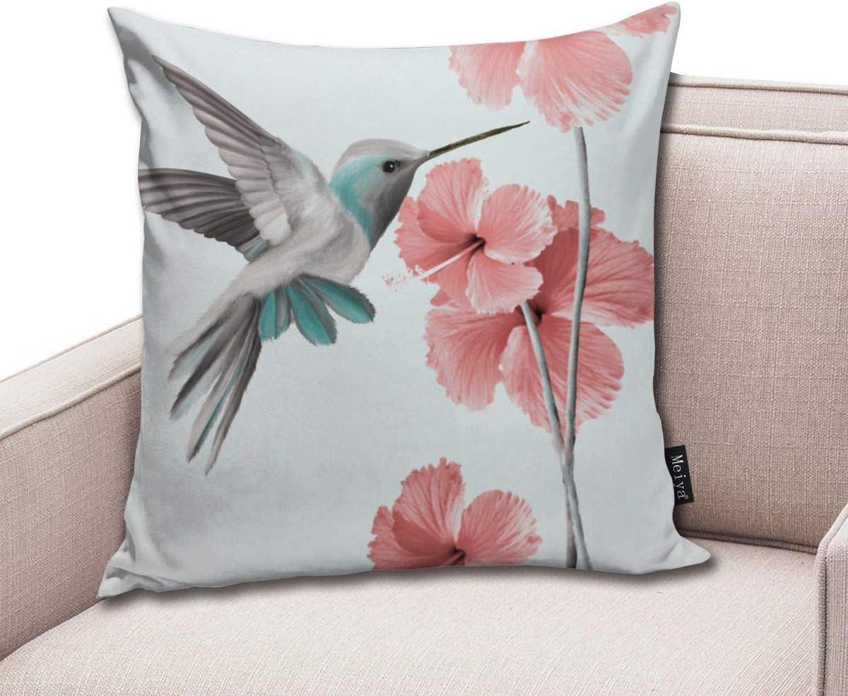 Hummingbird with Hibiscus Pillowcase Home Life Cotton Cushion Case 18 x 18 inches