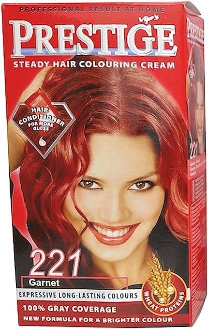 Vips prestige crema colorante para el cabello, color granate rojo 221