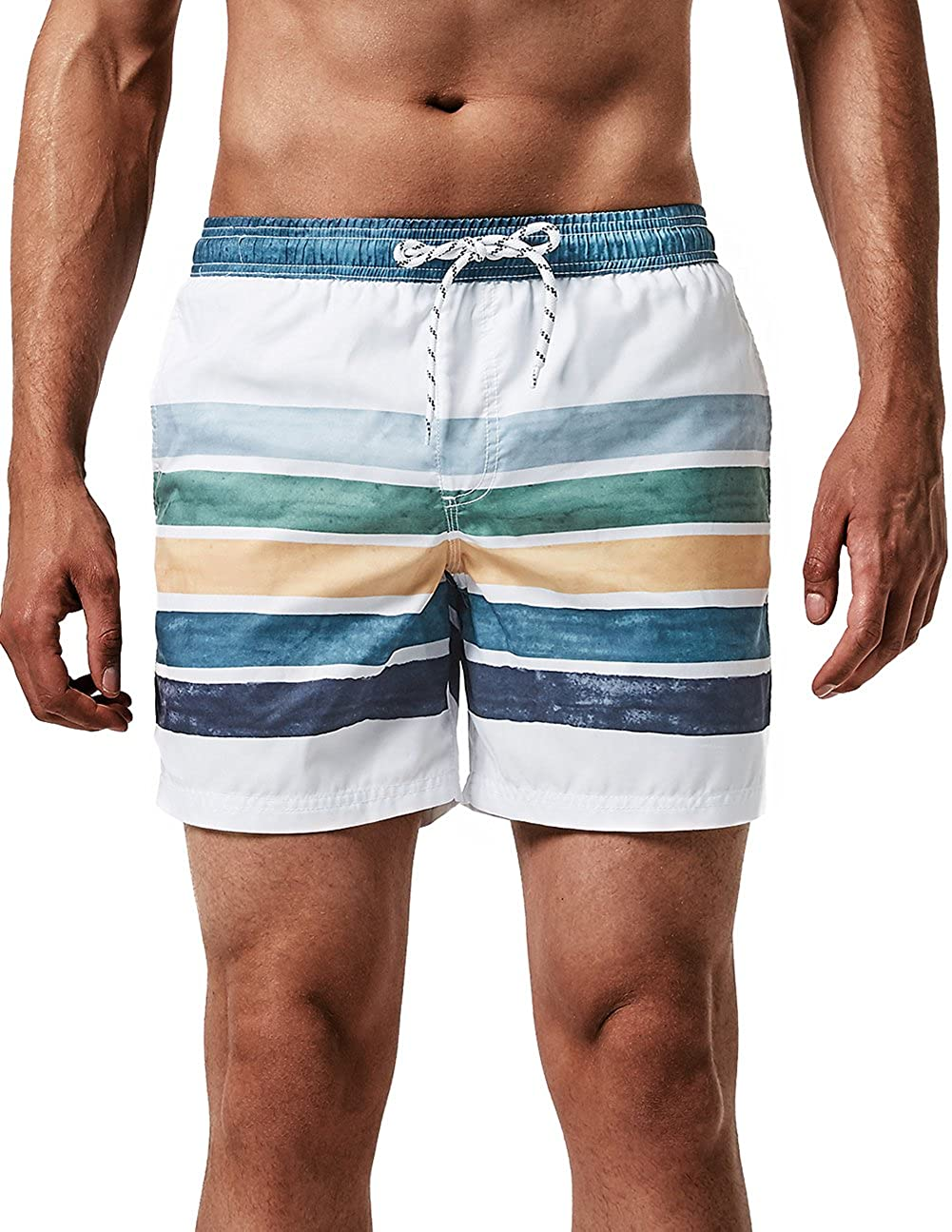 MaaMgic Mens Quick Dry Swim Trunks with Mesh Lining Flamingo Boardshorts