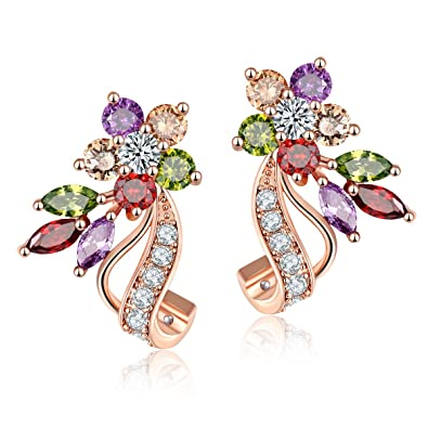 CARSINEL Gorgeous Rose Gold Plated Multicolor Flower Cubic Zirconia Stud  Earrings Set Ideal Gift for Women a6a15625c97b