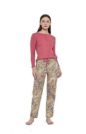 PimpamTex – Pijama de Mujer Invierno Algodón de Otoño-Invierno Camiseta Manga Larga y Pantalón Largo Estampados de Tacto Suave