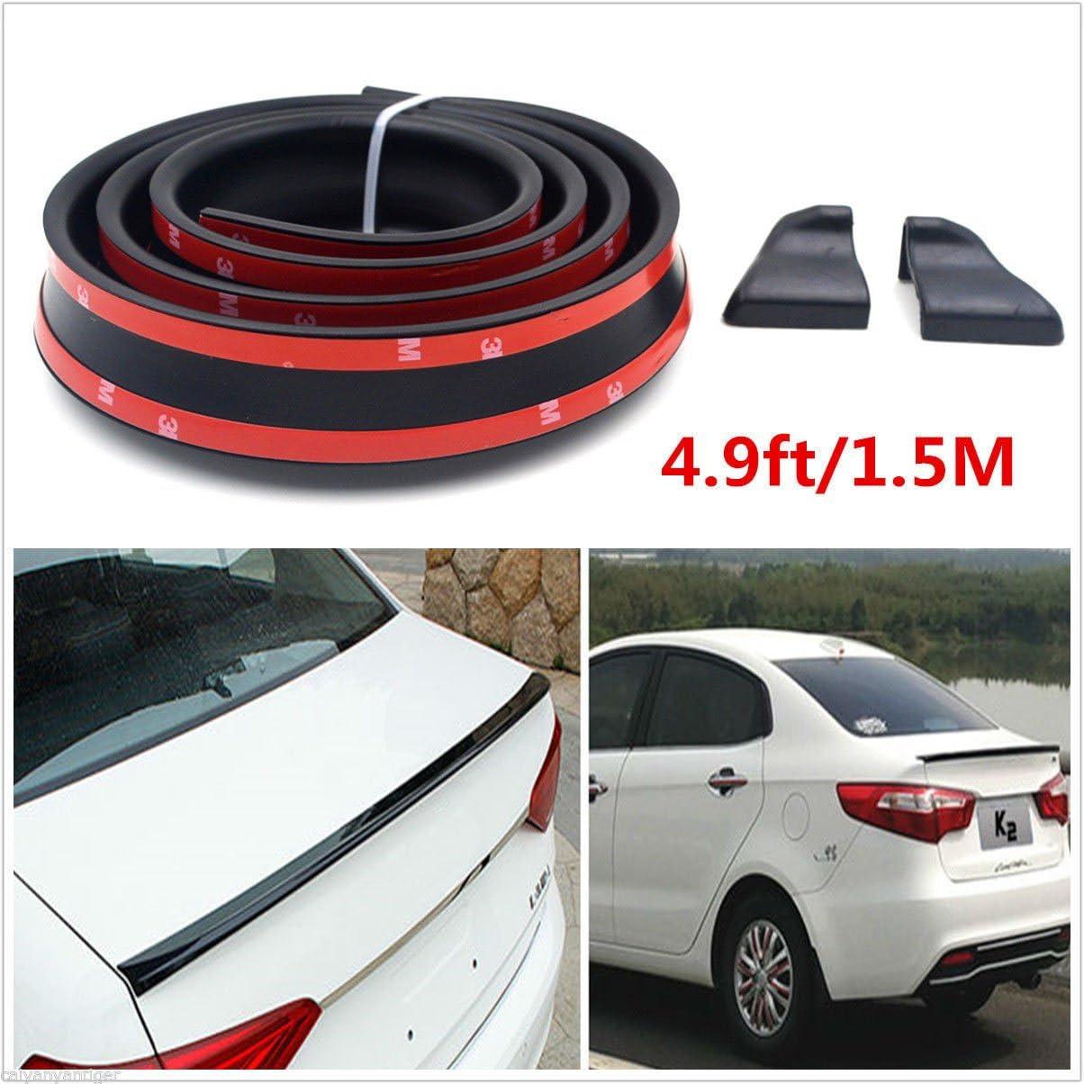 1.5m Black Soft Rubber Autos Rear Spoiler Wing Lip Trim Sticker Protector Cover
