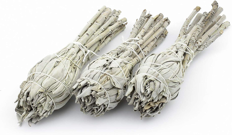 Heka Naturals Varillas de Incienso de Salvia para Mancha: 3 Palillos de manojos de Salvia Blanca | Arder Salvia para Eliminar la energía Negativa y purificar | 3 Piezas de 7.5-10 cm