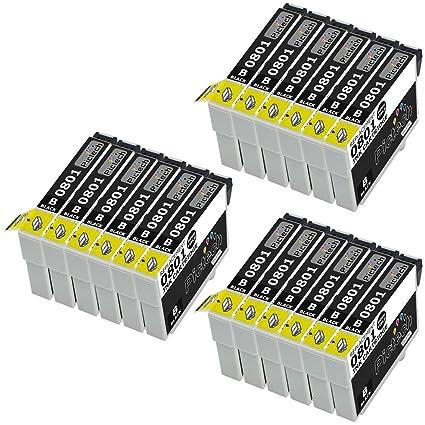 18 Compatible Epson T0801 (18 x negro) Cartucho de tinta ...