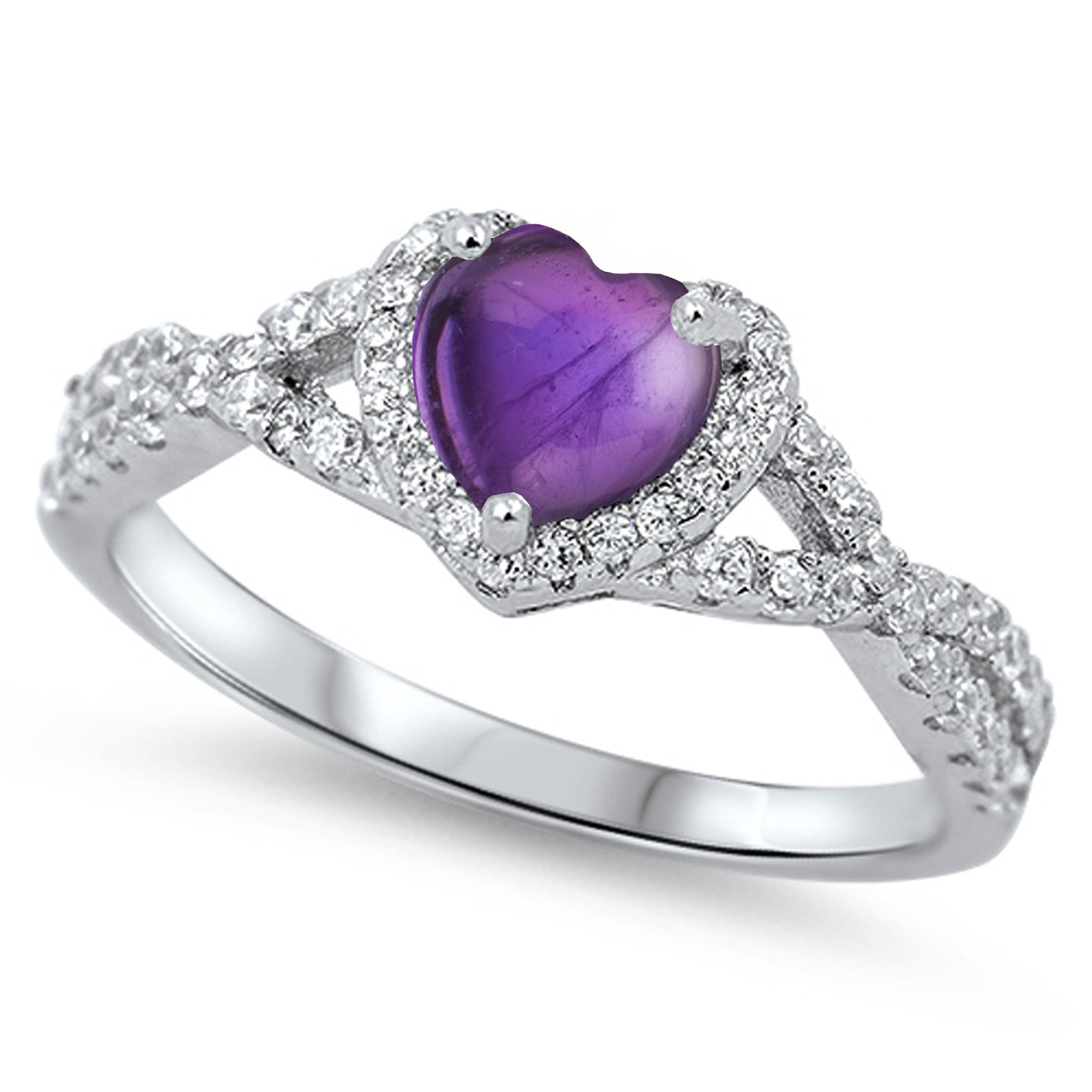 925 Sterling Silver Cabochon Natural Genuine Purple Turquoise Heart Halo Promise Ring Size 7