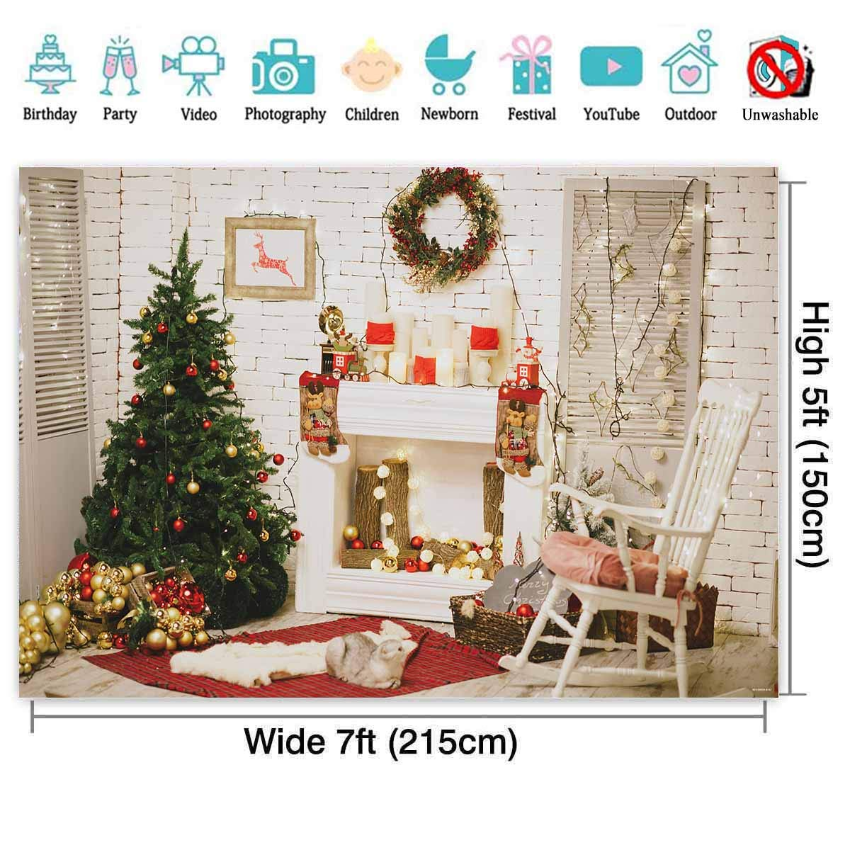 Colorful Christmas Background For Kids.Allenjoy 7x5ft Christmas Room Backdrop For Kids Photography Xmas Tree Fireplace White Brick Wall Glitter Xmas Decorations Photo Studio Background