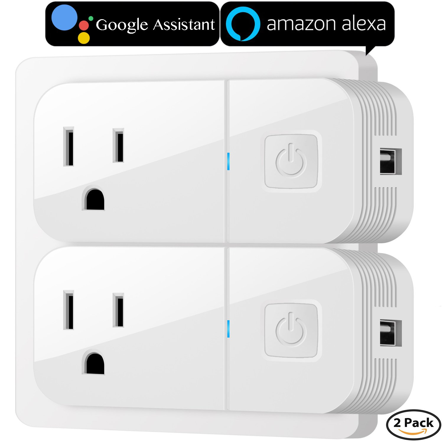 Smart Plug, VIMVIP [2 Pack] Wireless Mini Smart Plugs Outlet USB Charging Wifi Socket Compatible with Amazon Alexa, Google Home to Remote Control, Button Switch and More by IOS/Android Devices (White)