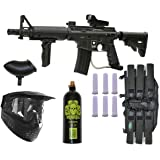 Tippmann US Army Alpha Elite Paintball Marker Gun 3Skull Package Set (Black)